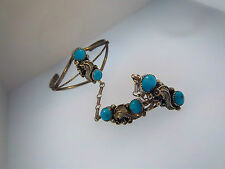 NATIVE AMERICAN Signed J 3745 STERLING SLAVE CUFF BRACELET SZ 8.5 TURQUOISE CABS