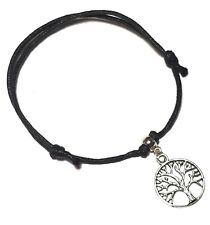 Black Cord Tree of Life Ankle Bracelet Adjustable Anklet Bead Silver Foot Charm