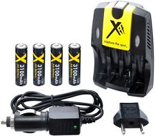 AA Rapid Charger + 4x 3100mAh Batteries 110/240v with Car adapter
