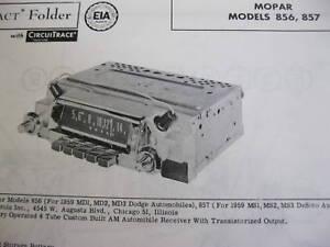 1959 DODGE 856,  DESOTO 857 MOPAR RADIO PHOTOFACT