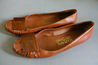 Salvatore Ferragamo Flats Shoes Italy Womens 8.5 B Brown Wood Buckle 99079