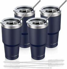 4x Navy Blue 30 Oz Stainless Steel Tumbler Vacuum Double Wall Insulation Travel