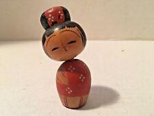"Vintage Japanese Hand Painted Wood Doll Figure Japan Nodder/Bobble Head 3"" Tall"