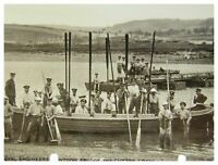 Antique military WW1 RPPC postcard Royal Engineers Pontoon Bridge & Cutter Crew