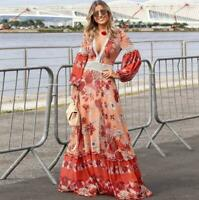 Women's Vogue Ethnic Flower Printed Long Boho Slim Fit Dress Beach Holiday Maxi