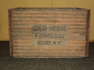 VINTAGE 1967 GOLD MEDAL FARMS BRONX NY WOOD MILK BOTTLE BOX