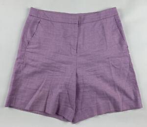 J.Crew High Waist Shorts Womens 10 Linen Blend Lavender Flat Front Summer H7750