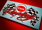 COX RACING • Vintage Style Sticker • Checkered Flag Decal • Slot Car • Gas • RC