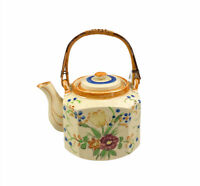 Antique Japanese Teapot By Hotta Yu Shoten Floral Square Hand Painted 1920