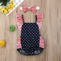 NEW Baby Girls Patriotic 4th of July Ruffle Romper Jumpsuit Headband Outfit Set