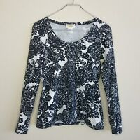 Talbot's Knit Top Shirt Small Black White Paisley Long Sleeve Scoop Neck