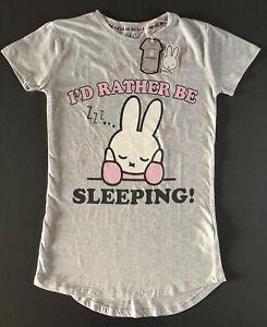 Miffy Damen Nachthemd Pyjama S-M Schlafshirt Bigshirt Kurz PJ Bunny Hase Grau