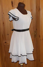 Cream ivory off-white chiffon black satin chiffon short sleeve tea dress M 10-12