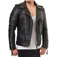 Men Motorcycle Genuine Lambskin Leather Jacket Black Slim fit Biker jacket