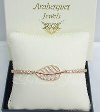 ARABESQUES JEWELS ROSE GOLD/STERLING SILVER/CRYSTAL LEAF/LEAVES TENNIS BRACELET