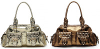 New Women's Buckle Detail Metallic Foil Diamante Handbag Shoulder Crossbody Bag