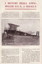 PUBBLICITA'1918 WW1 AEREO BALILLA S.V.A. MOTORI SPA TORINO BIPLANO CACCIA GUERRA
