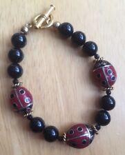 Ladybug Beaded Bracelet Black Red Gold Toggle Clasp
