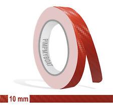 ZIERSTREIFEN - 10mm CARBON ROT GLANZ red 10m Auto 10 Stripe Boot 1cm Dekor