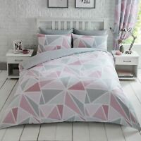 Métro Triangle Set Housse de Couette Double Rose/Gris Moderne Géométrique