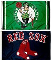 Boston Celtics NBA & Boston Red Sox MLB Sports Flags ~ Large 3'X5' Banners