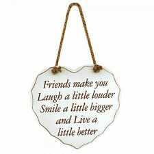 Shabby Chic Heart Plaque Friends Make You Laugh Smile Live Better Hanging Sign