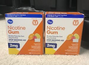 Lot of 2 Kroger Nicotine Gum Coated  Fruit Wave 2mg 160 Pieces, Exp 12/2021.