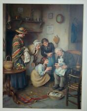 Vintage Framed Advertising Pears Poster Print FAMILY WORSHIP by Joseph Clark