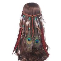 Indian Ladies Feather Headband Hairband Native Bead Hippy Party Head Band