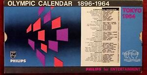 1964 Olympic Games Tokyo Original Olympic Calendar 1896-1964 from PHILIPS NICE!