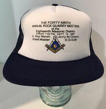 Free Mason 1989 Trucker Hat Cap 18th Masonic District Rock Quarry Meeting