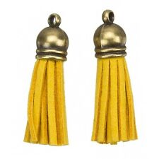 Suede Tassel Charms with Bronze Cap for Jewellery Dark Yellow 36mm (H22/4)
