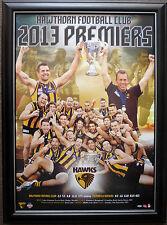 Hawthorn Hawks 2013 AFL Premiers AFL Official Premiership Poster Framed MITCHELL