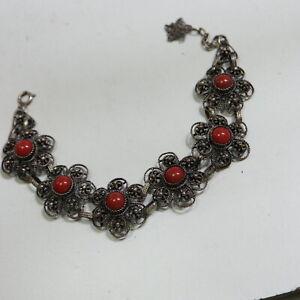 Älteres Korallen Armband 835 Silber, 19+3cm = 24,0g