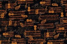 Music Fabric - All That Jazz Gold Instrument Patch - Robert Kaufman YARD