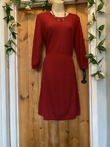 FAT FACE  COZY TEXTURED BERRY RED  KNIT JUMPER  DRESS SIZE 12