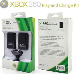 XBOX 360 Compatible Rechargeable Battery Pack Controller Charger Cable x 2