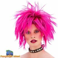 Neon Pink Short Spiky Punk Rocker 80's Wig Adult Womens Fancy Dress Costume