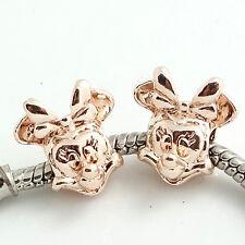 5pcs gold KC European Charm Beads Fit  Necklace Bracelet Pendant Chain ST849