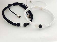 His And Hers Couple Bracelet Onix Black And White Beads 2 Pcs Gift Bag Free❤