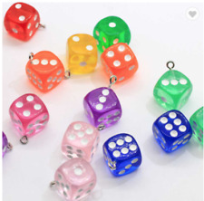 🎲🎲10 Adorable Mixed Dice Charms Pendants - 14mm for earrings keyring etc🎲🎲