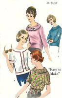 """Vintage 1960's Sewing Pattern Scooped Neck Roll Collar Blouse Top B 36"""""""