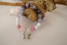 Damenarmband Armband Edelsteine handgefertigt Amethyst & Quartz & Achat