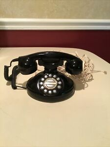 Pushbutton Black Corded Phone—Tested—Nice—Free Shipping