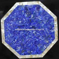 "18"" Blue Marble Cstom Table Lapis Abalone Precious Inlay Stone Patio Decor H4451"
