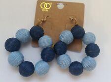Cord Yarn Balls Earrings Z3-16/22 Fashion Trendy Navy Blue Winding Wax