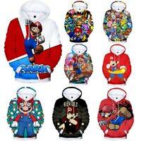 Women/Men Cartoon Super Mario 3D Print Hoodie Sweatshirt Pullover Jumper