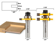 "1/4"" Plywood 2 Bit Tongue and Groove Router Bit Set - 1/2"" Shank - Yonico 15231"