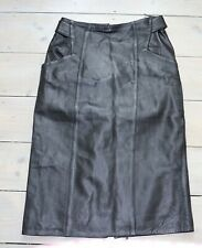 Women's Vintage SANDY High Waist Straight Black 100% Leather Skirt Size UK10 W28