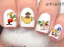 Alice in Wonderland Nails Disney Tea Party Mad Art Water Decal Stickers Polish